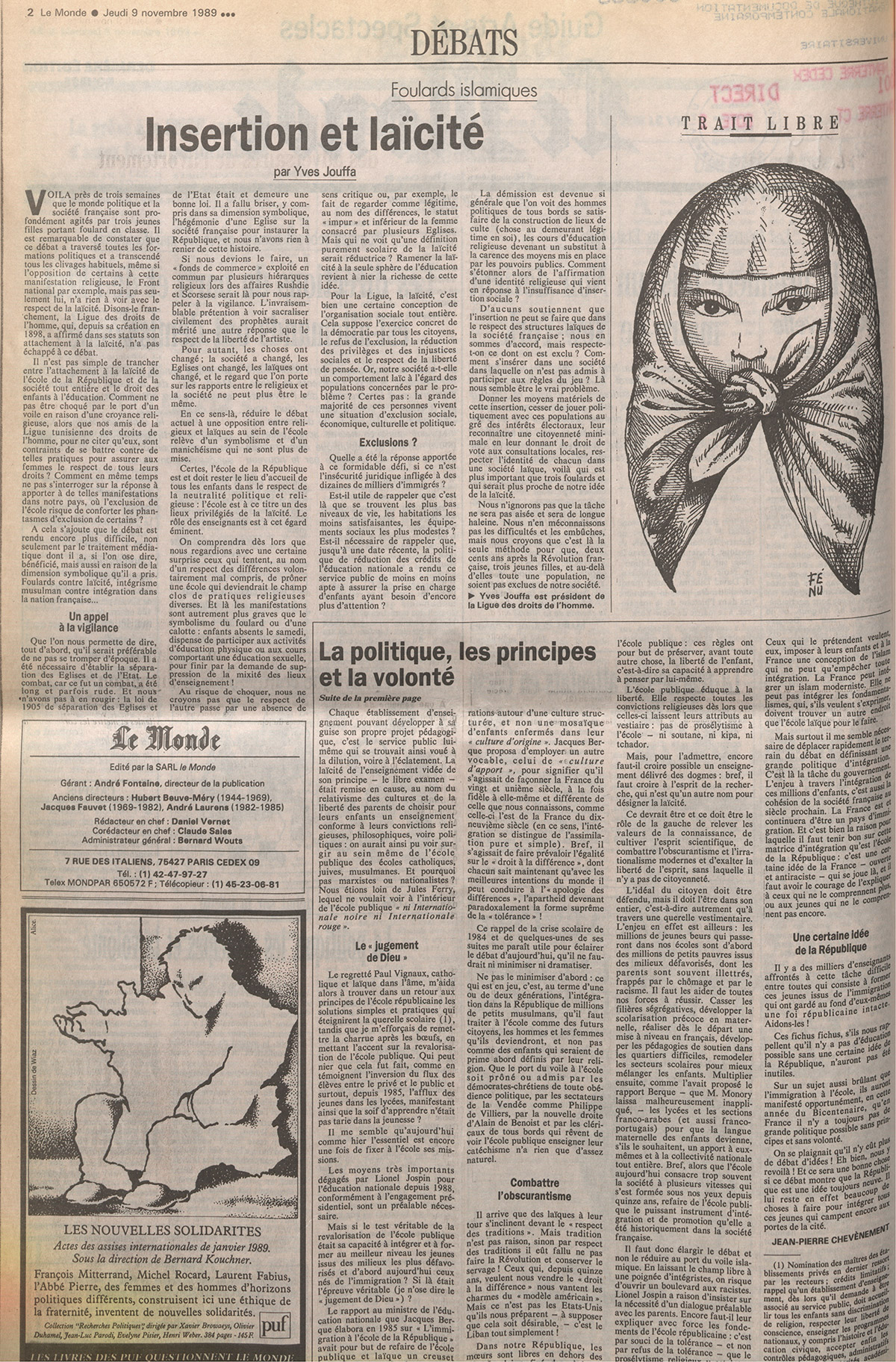 Insertion et laïcité in Le Monde, 9 novembre 1989
